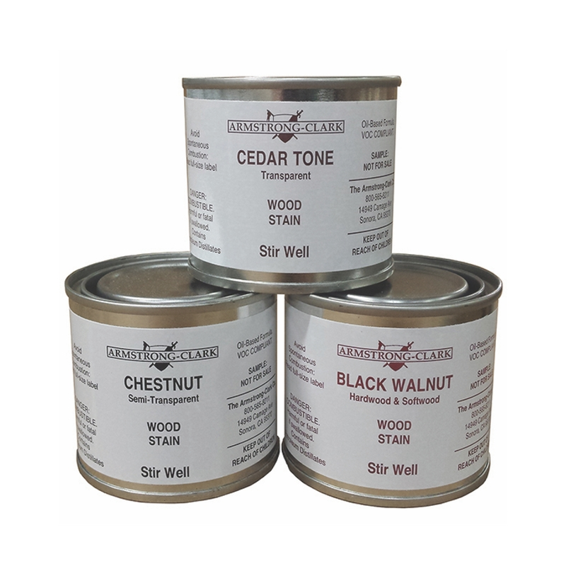 Three small liquid samples for Armstrong-Clark deck stain