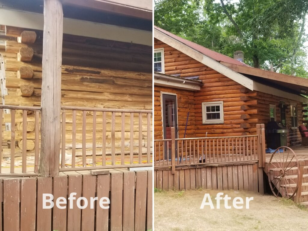 Before and after photos of log home for testimonial