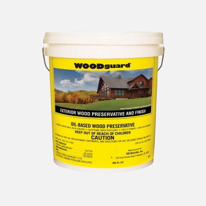 Button for product page showing WOODguard Exterior Stain 5-gallon bucket